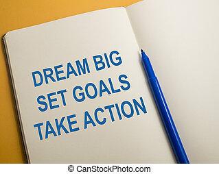 ensemble, grand, buts, action, rêve, prendre
