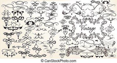 ensemble, grand, calligraphic, vecteur, vendange, design.eps, éléments