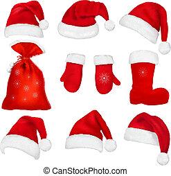 ensemble, grand, chapeaux, santa, clothing., rouges