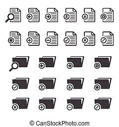 ensemble, grand, documents, données, icône