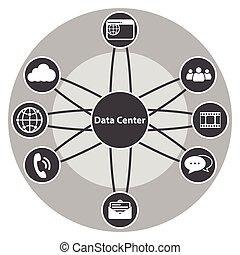 ensemble, grand, données, centralisé, icône