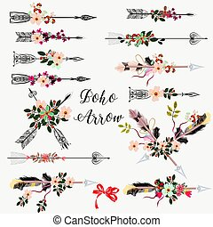 ensemble, grand, flowers.eps, flèches, main, boho, dessiné