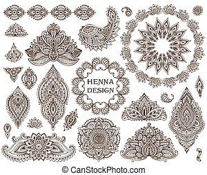ensemble, grand, henné, floral, vecteur, cadres, éléments