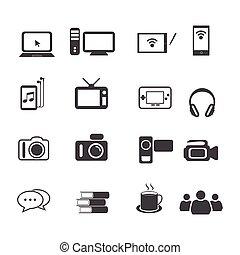 ensemble, grand, icône, données, divertissement
