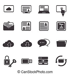 ensemble, grand, icône, données, internet