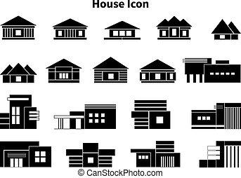 ensemble, grand, illustration, maisons, vecteur, icône