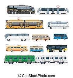 ensemble, grand, moderne, isolé, confortable, illustrations, transport commun