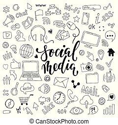 ensemble, grand, social, main, symboles, thème, objets, média, dessiné, dessin animé, lettering., griffonnage