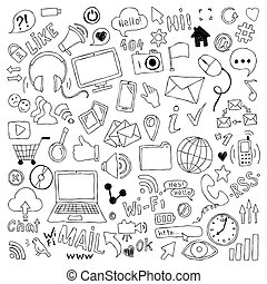 ensemble, grand, social, theme., main, symboles, objets, média, dessiné, dessin animé, griffonnage