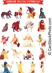 ensemble, grec, créatures mythiques, dieux