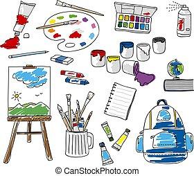 ensemble, griffonnage, école, papeterie, blanc, fond, vecteur, illustration