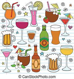 ensemble, griffonnage, bière, vecteur, vin, boissons