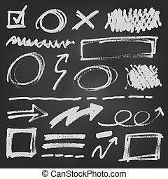 ensemble, griffonnage, cahier, illustration, stylo, vecteur, flèche