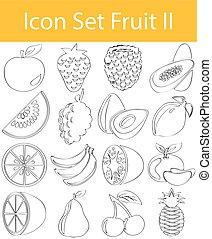 ensemble, griffonnage, ii, fruit, dessiné, revêtu, icône