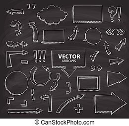ensemble, griffonnage, isolé, main, stylo, éléments, conception, arrows., dessiné