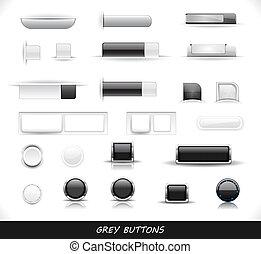 ensemble, gris, boutons, toile