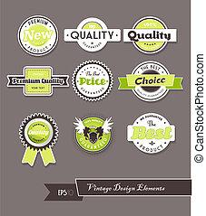 ensemble, gris, vert, étiquettes, arrière-plan.