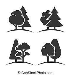 ensemble, groupe, arbres, arrière-plan., vecteur, logo, blanc