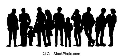 ensemble, groupe, gens, grand, silhouettes, 6