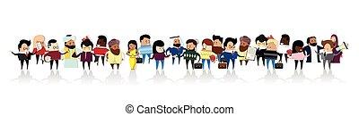 ensemble, groupe, professionnels, businesspeople, mélange, course, dessin animé