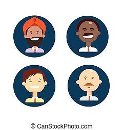 ensemble, groupe, professionnels, ethnique, businesspeople, mélange, course, équipe, icône, homme