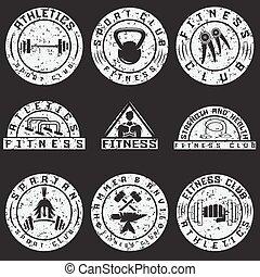 ensemble, grunge, étiquettes, éléments, divers, fitness, conception