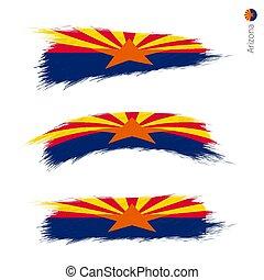 ensemble, grunge, 3, drapeau, nous, état, arizona, textured