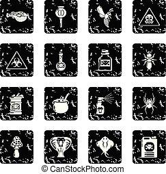 ensemble, grunge, danger, icônes, poison, vecteur, toxique