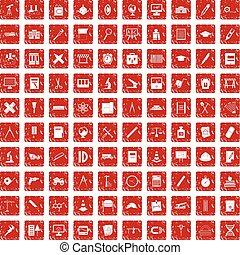 ensemble, grunge, icônes, compas, 100, rouges