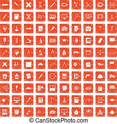 ensemble, grunge, icônes, compas, orange, 100