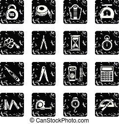 ensemble, grunge, icônes, précision, vecteur, mesure