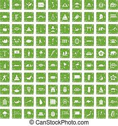 ensemble, grunge, icônes, vert, asiatique, 100