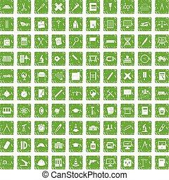ensemble, grunge, icônes, vert, compas, 100