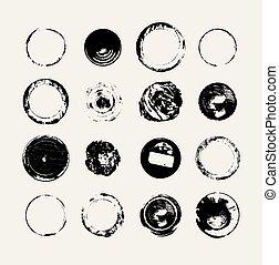 ensemble, grunge, résumé, vecteur, monochrome, rond, textures.