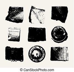 ensemble, grunge, résumé, vecteur, monochrome, textures.
