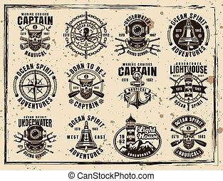 ensemble, grunge, vendange, emblèmes, vecteur, nautique