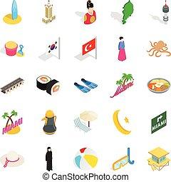 ensemble, hôtellerie, isométrique, style, icônes