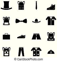 ensemble, habillement, homme, icône