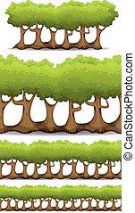 ensemble, haies, arbres, buisson, seamless, jeu, ui, forêt
