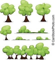 ensemble, haies, feuilles, arbres, buisson, dessin animé