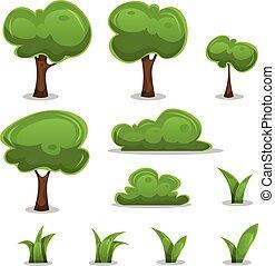 ensemble, haies, feuilles, arbres, herbe, dessin animé
