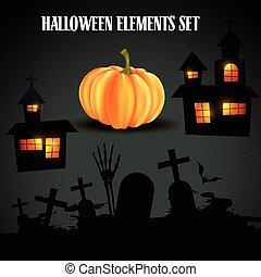 ensemble, halloween, éléments