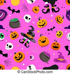 ensemble, halloween, éléments, seamless, modèle, vecteur