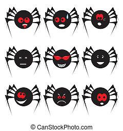 ensemble, halloween, araignés