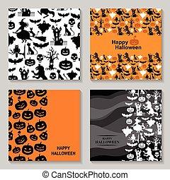 ensemble, halloween, carte