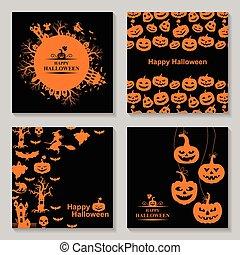 ensemble, halloween, carte voeux