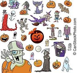 ensemble, halloween, dessin animé