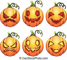 ensemble, halloween, dessin animé, potirons