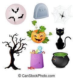 ensemble, halloween, elements.