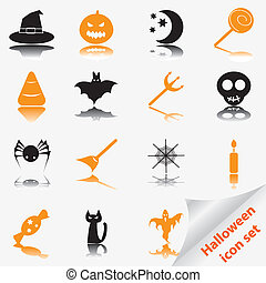 ensemble, halloween, icône